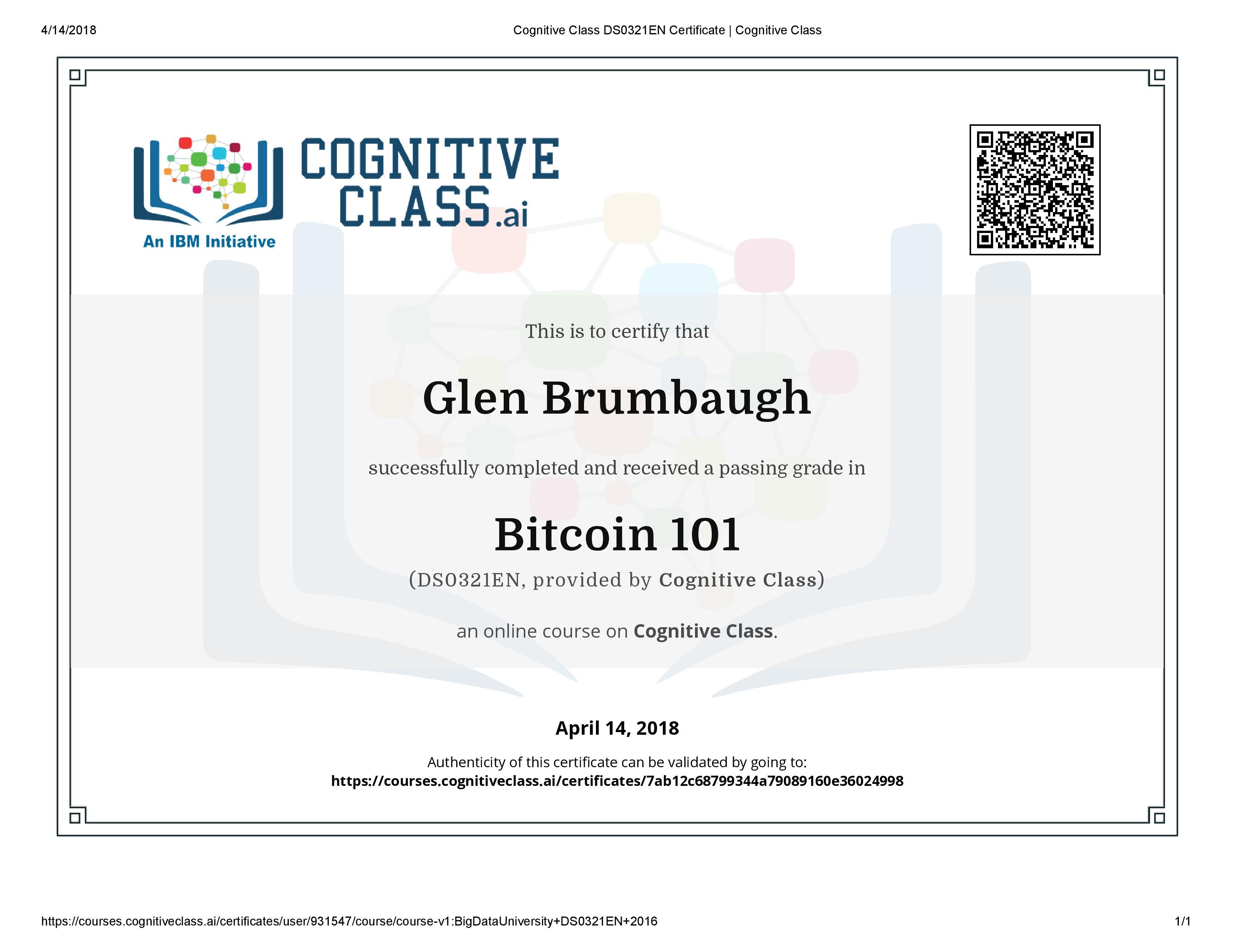 Certifications Glen Brumbaugh